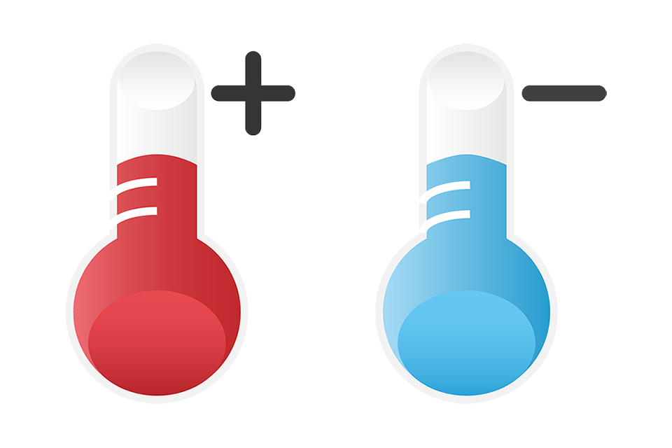 Temperature change from hot to cold
