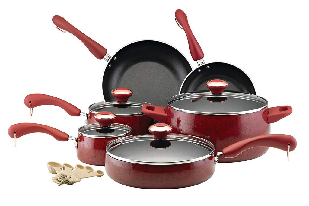 Paula Deen Signature Collection Porcelain Nonstick 15-Piece Cookware Set, Red Speckle
