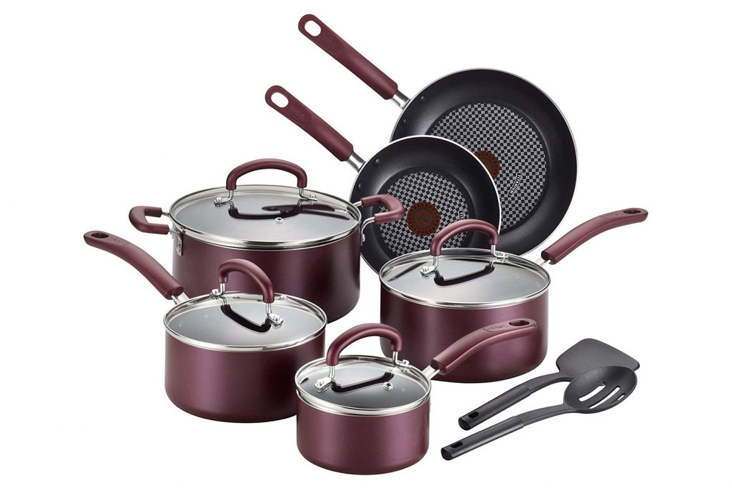 T-fal Color Luxe Hard Titanium Nonstick Thermo-Spot Cookware Set,